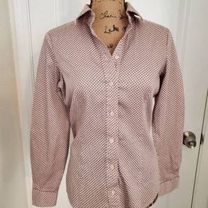Button down blouse blush with black lines